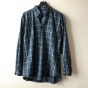 Faconnable Navy Plaid Button Down Collared Shirt